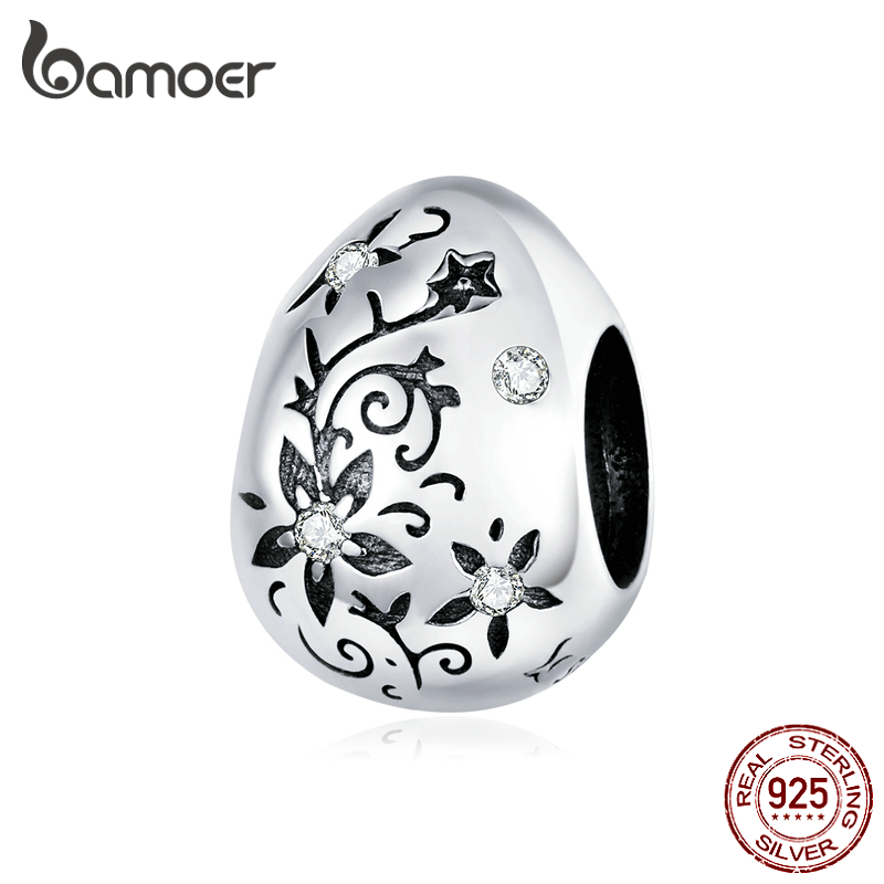 Bamoer Easter Series Authentic 925 Sterling Silver Vintage Flower Pattern Metal Beads Egg Charm For Original Bracelet SCC1466