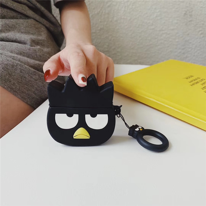 INS 3D Cool Penguin Cartoon Bluetooth Wireless Earphone Silicone Case for AirPods1 2 Headset Charging Box with Finger Ring Strap