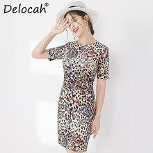 Delocah Runway Fashion Autumn Elegant Vintage Dress Womens Short Sleeve Leopard Printed Back Zipper Ladies Stylish Mini Dresses