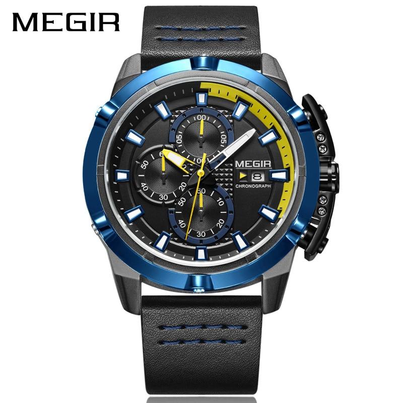Mens Watches MEGIR Clock Man Luxury Chronograph Top-Brand Quartz Blue