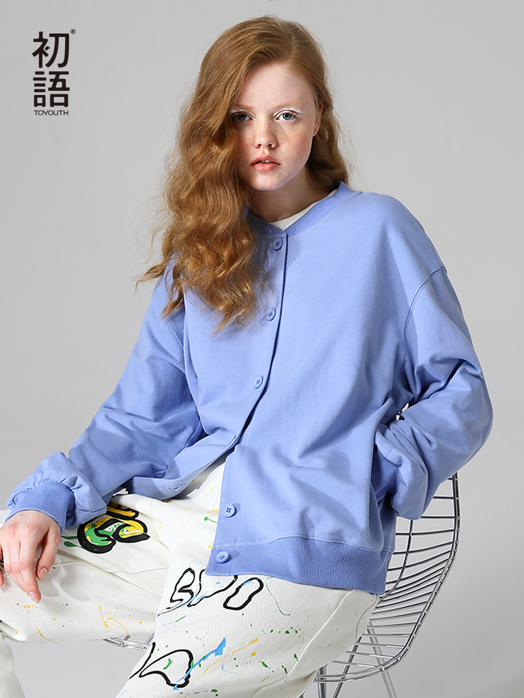 Toyouth Solid Color Women 2020 Rib Baseball Cotton Casual Round Neck Long Sleeve Sweater Female Coat
