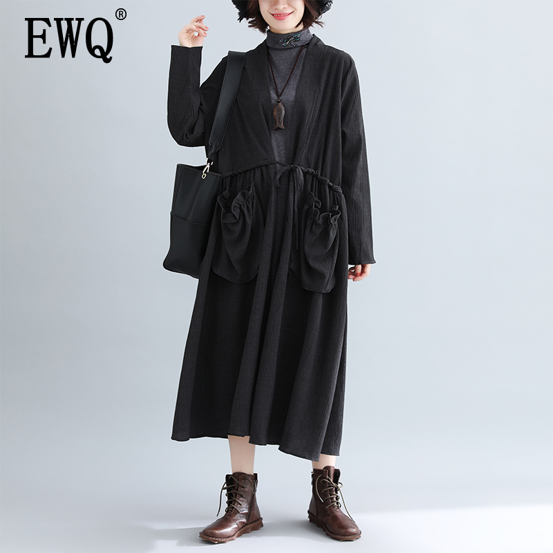 [EWQ] 2020 Spring  New Pattern Office Lady Style Full Sleeve Solid Color Large Size Loose Open Stitch V Collar Windbreak AF874