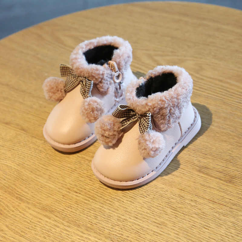 KIDS Snow Boots For bow Baby girls snow boots shoes fashion warm plus velvet shoes baby infant boots toddler shoes baby booties