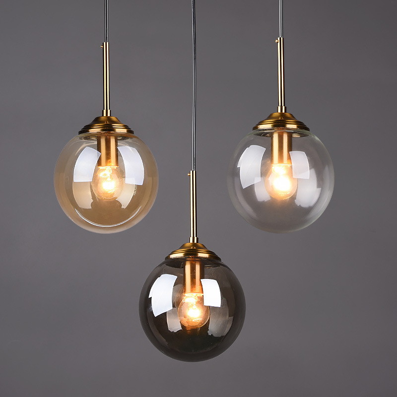 Clear/Smoke grey Glass Bar Coffee shop Pendant Lamp Dining room Hanging lamp Bedside Pendant Lights E14 LED Gold Nordic Lamp|Pendant Lights| |  - title=
