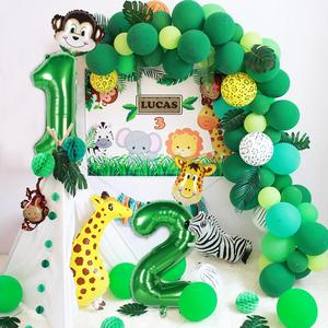 HUIRAN Green Number Balloons Safari Jungle Animals Ballon 1st 2nd 3rd Birthday Baloon Baby Happy Birthday Party Decor Kids Balon