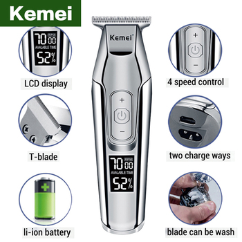hair clippers professional kemei electric Hair trimmer beard LCD clipper men cutting machine cordless trymer 4