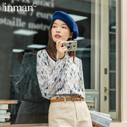 INMAN 2020 Autumn New Arrival Leaves Print Long Sleeve Lapel Youth Women Blouse