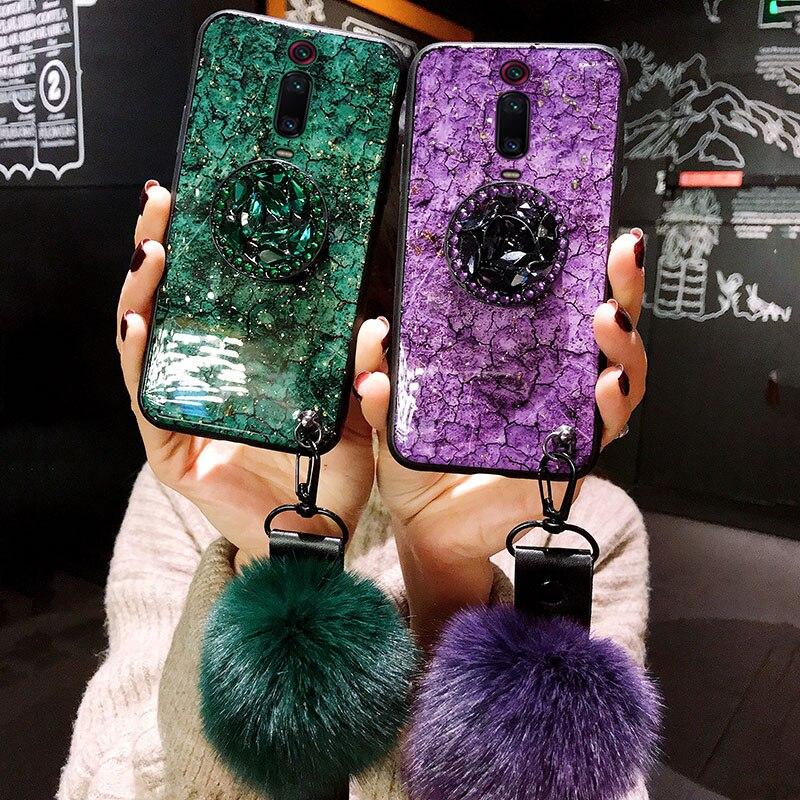 For Xiaomi Mi 9T 9 CC9 CC9E A3 8 Lite 6X A2 5X A1 Note 10 For Xiaomi Mi 9T 9 CC9 CC9E A3 8 Lite 6X A2 5X A1 Note 10 3 Redmi K20 Pro Mix 2 Max 3 Case Cover Glitter Plush Ball Hand Strap
