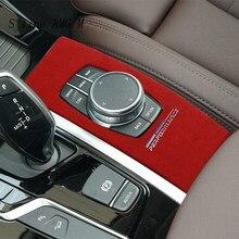 Auto Styling Wildleder Auto Verpackung ABS Innen Trim Für BMW X3 X4 G01 G02 Auto Multimedia Tasten Panel für M leistung Aufkleber