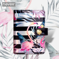 2019 Yiwi Never Flamingo Planner Waterproof Pu Leather Cover Notebook 6 Loose Leaf Diary Binder With Month Week Filler