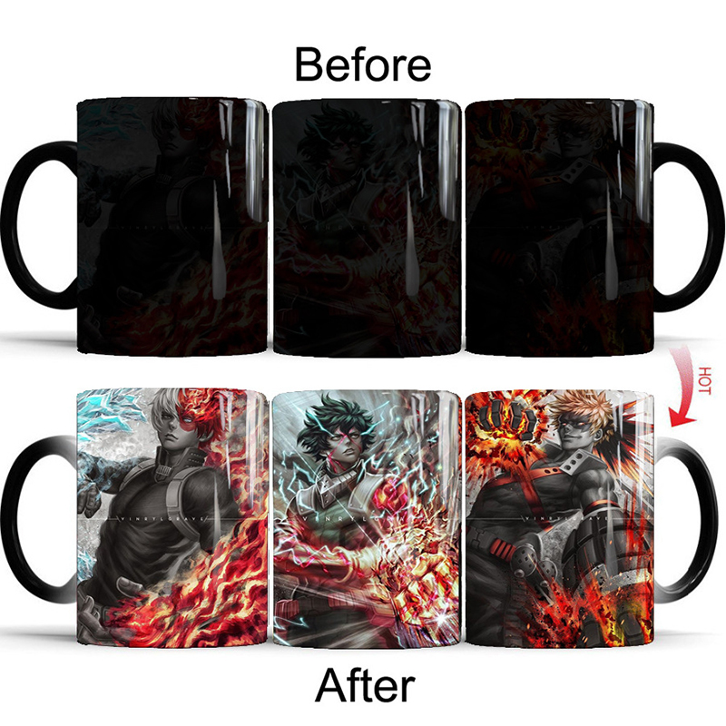 1Pcs New 350ml Magic Mug My Hero Academia Color Changing Mug Coffee Milk Tea Cup Gift for Your Family Children Kids Friends image