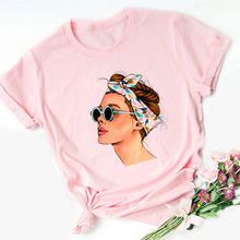 2020 Vogue Cool Lente Zomer Meisjes Print Vrouwen Blouses Roze Zomer Toevallige Harajuku O-hals Shein Femme Tops Shirt Plus Size(China)