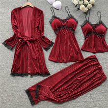 Autumn New 4 Pcs Thickening Velvet Long Sleeve Women Pajamas Lace Sexy With Chest Pad Spaghetti Strap Sleepwear