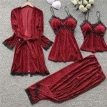 Outono novo 4 pçs espessamento veludo manga longa pijamas femininos rendas sexy com almofada no peito espaguete cinta sleepwear