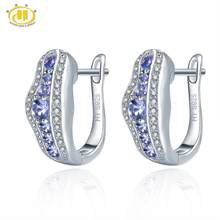 Hutang Tanzanite Women's Clip Earrings Solid 925 Sterling Silver Natural Gemstone Fine Elegant Jewelry for Gift New Arrival(China)