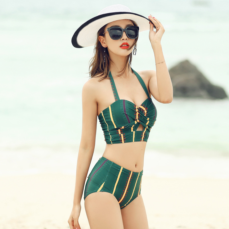 Bikini Three-piece Set Veils Slimming Skirt Bathing Suit Women's Sexy Small Bust Gathering Korean-style Graceful Hot Springs Swi