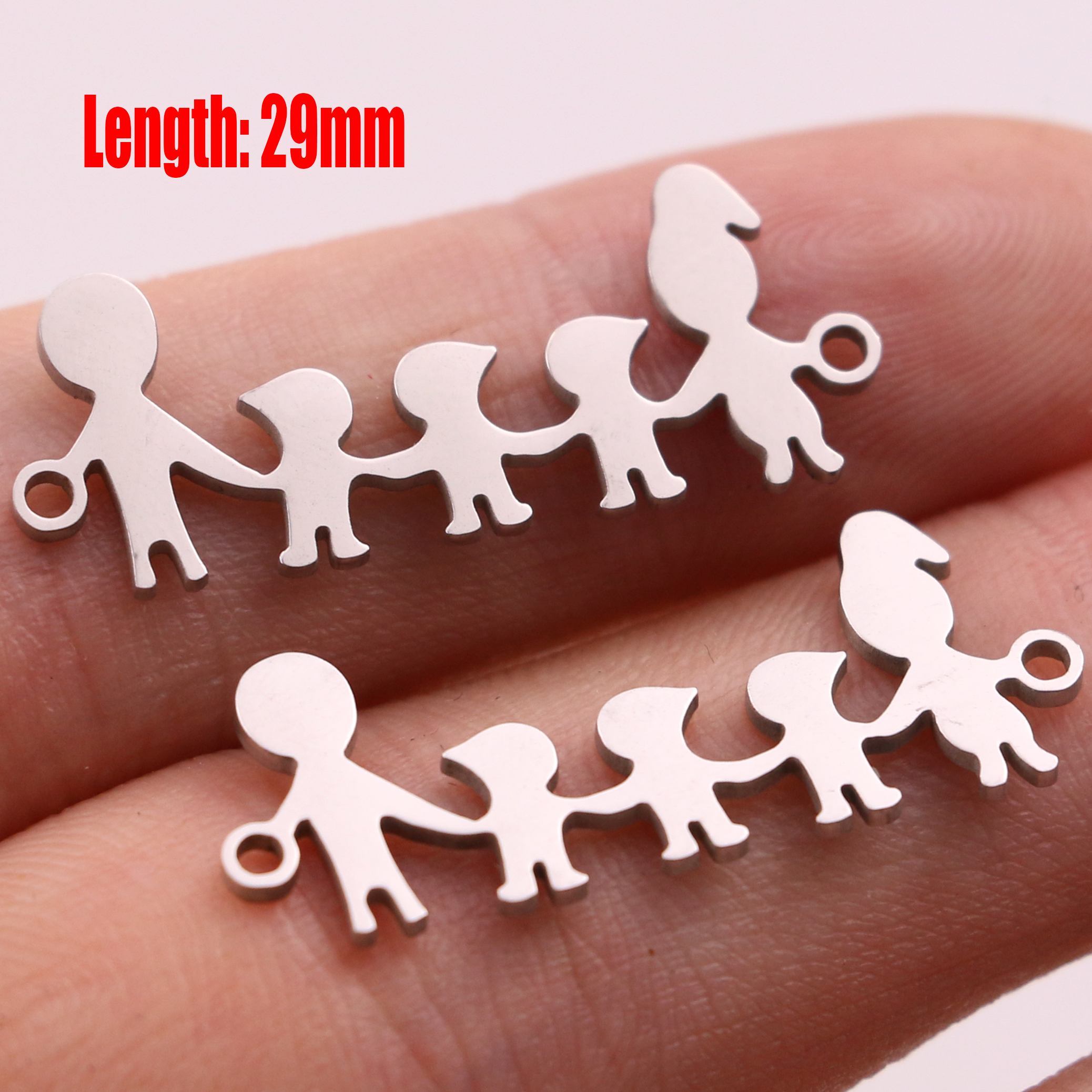 5pcs Family Chain Stainless Steel Pendant Necklace Parents and Children Necklaces Gold/steel Jewelry Gift for Mom Dad New Twice - Цвет: Steel 30