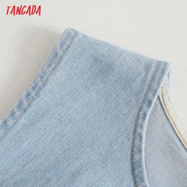 Tangada Women Solid Denim Blue Cut-out Dress Sleeveless 2021 Korean Fashion Lady Elegant Dresses Vestido 6P51 3