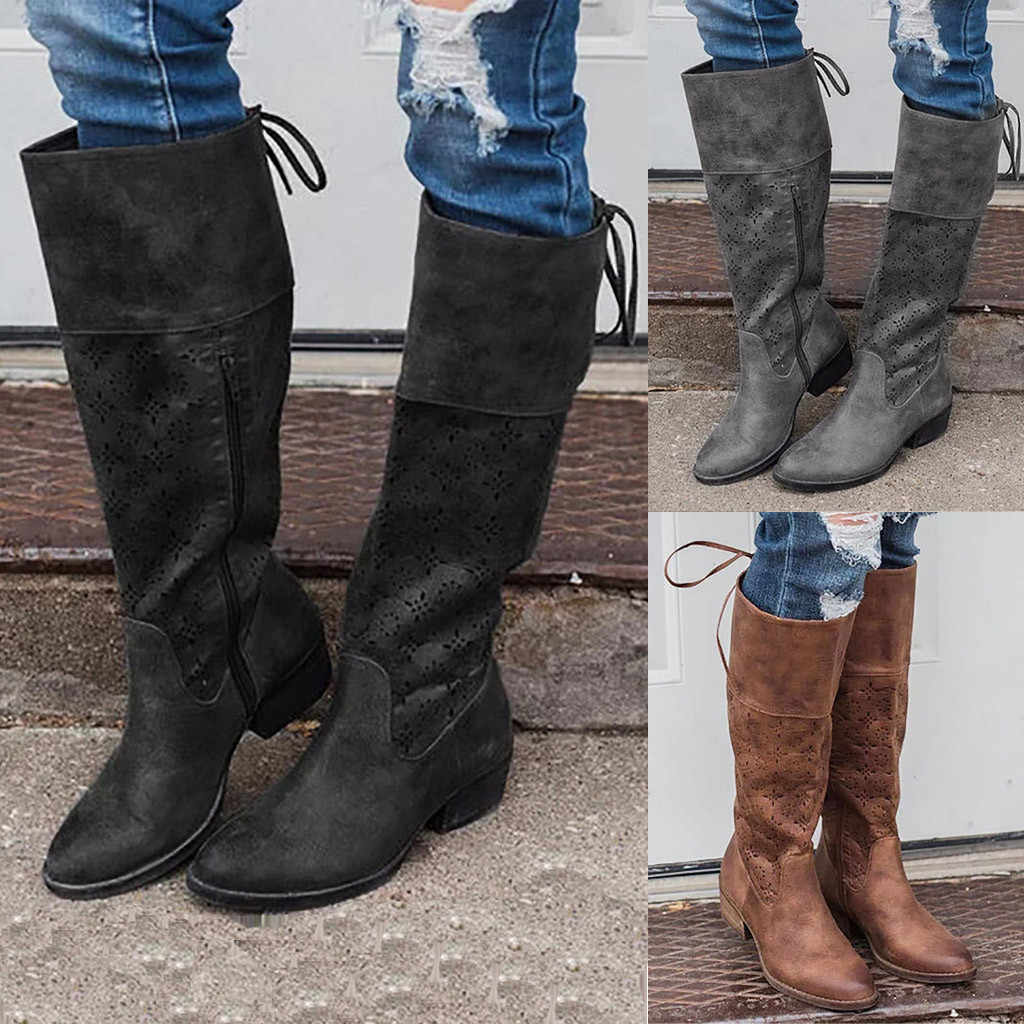 YOUYEDIAN รองเท้าผู้หญิงหนังหนังคลาสสิกฤดูใบไม้ร่วง Lace-Up Western Knight รองเท้าเข่าสีดำ botas mujer 8M3