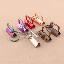 20pcs 32mm מתכת מפתח Fob חומרה עם מפתח טבעת פיצול טבעת חגורה קשת/סגול/אדום/כסף/רוז זהב/ברונזה/נחושת צבע
