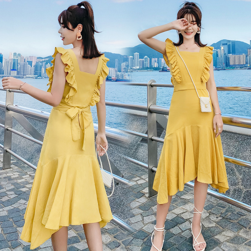 Scheming Skirt Summer Women's 2019 New Style Sense Of Design Frilled Fishtail Skirt Yellow Sleeveless Camisole Cotton Linen Dres