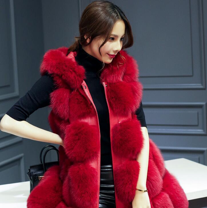 Un nuevo tipo de ropa de mujer de largo y mediano de comercio exterior con costura de piel y abrigo de pelo de zorro en 2019 - 3