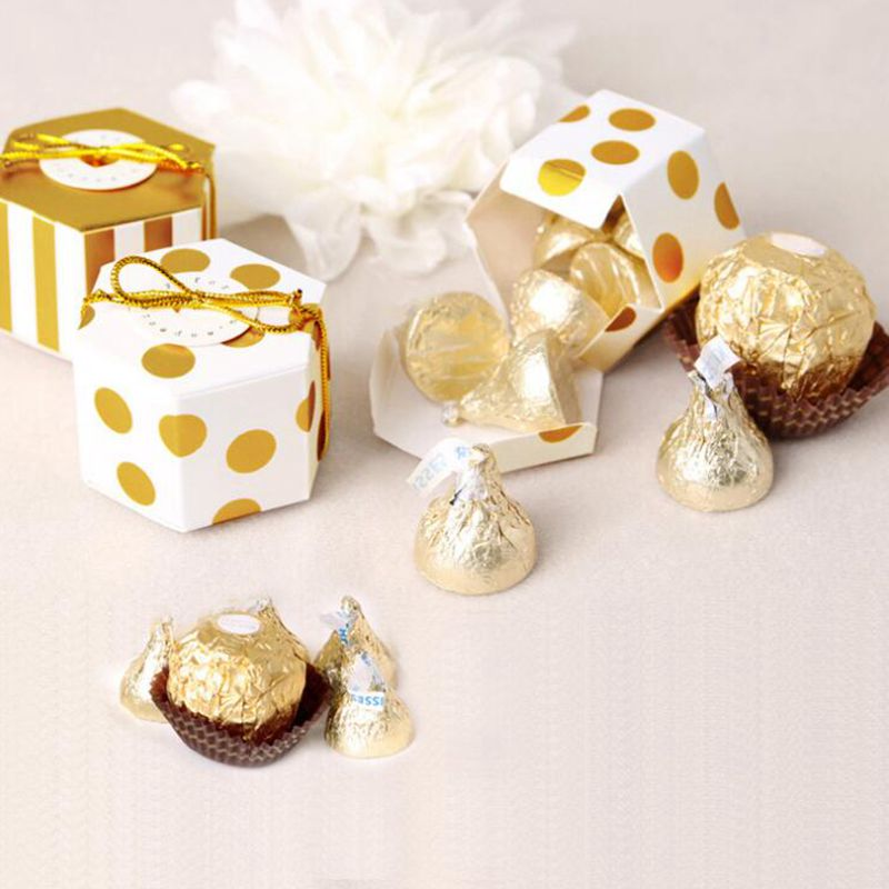 10pcs Hexagon Candy Box Polka Dot Chocolate Box Wedding Stripe Gifts Box Festival Birthday Party Decoration Baby Shower Supplies