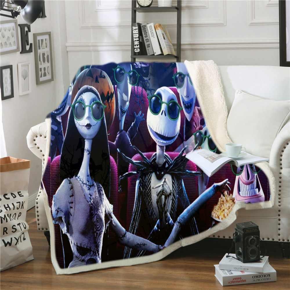Одеяло с рисунком короля Джека и Салли для свиданий двустороннее Коралловое одеяло из шерпы Кошмар перед Рождеством офисное одеяло до колена