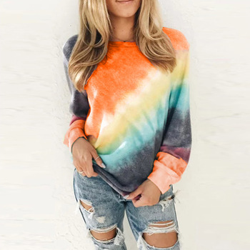 Autumn Tie Dye Long Sleeve Female Loose Plus sized Tops Hoodies Casual Women Drawstring Sweatshirt Hoodies Pullover Tops women drawstring hoodies sweatshirt korean 2020 zipper pockets long sleeve crop tops jackets female clothes autumn white coats