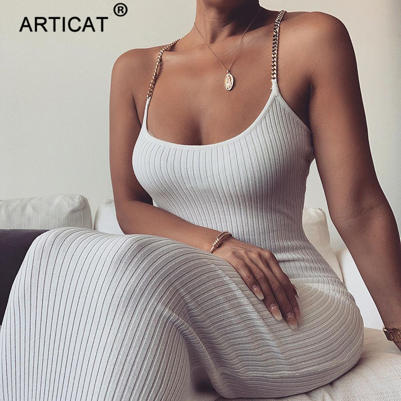 Articat Metal Chain Strap Ribbed Sexy Bodycon Dress Sleeveless O-Neck Sheath Summer Dress White Backless Beach Casual Long Dress