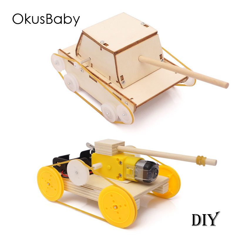 DIY Wood Hand Made Chinldren Educational Toy Vehicle Battery Electronic Tanker Assemble Truck Panzer Toys Baby Boys Study Gift