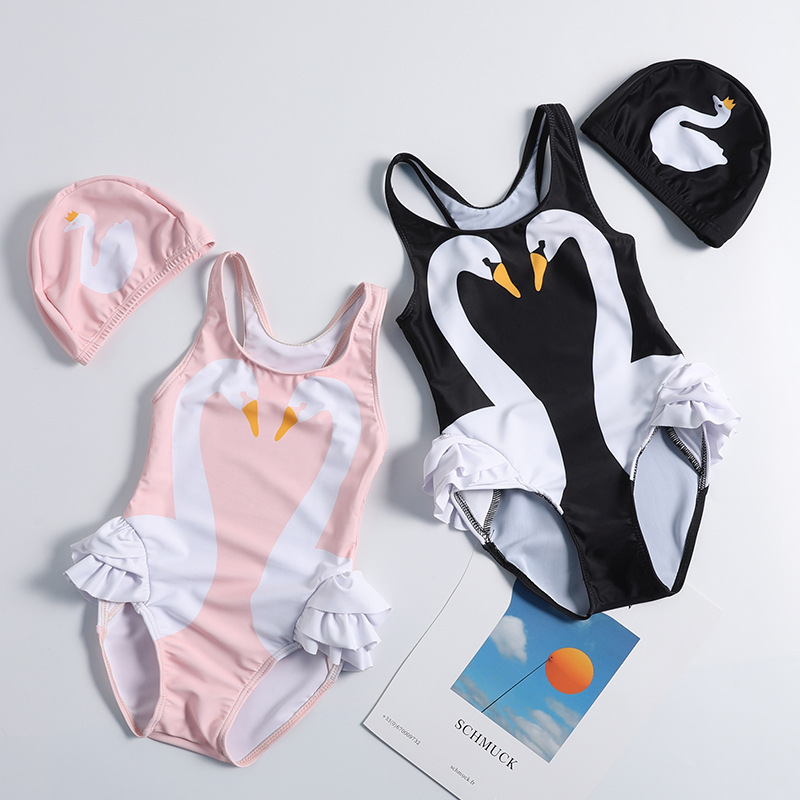 Hot Selling 2019 Summer New Style Black Swan Swimwear Parrot Children Girls Baby One-piece Swimming Suit
