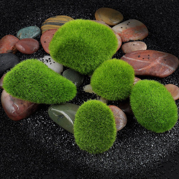 Artificial Fake Moss Lawn Mossy Stone Model Toy DIY Micro Landscape Fairy Garden Miniature Ornament Accessories Decoration image
