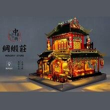مو 3D لغز معدني الحي الصيني بناء MERCERY مخزن نموذج مصباح ليد نموذج أطقم DIY 3D تجميع بانوراما لعب هدية للأطفال