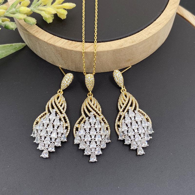 Lanyika Mode Schmuck Set Romantische Spirale Zirkonia Micro Pflastern Halskette mit Ohrringe für Frauen Hochzeit Bankett Beste Geschenke