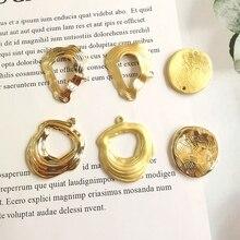 6 pieces / lot jewelry making earring settings handmade diy pendant Geometric shaped wavy metal personality ripple hipster