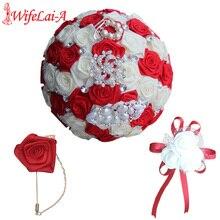 WIFELAI-A Artificial Flowers Rose Wedding Party Bride Bouquet Groom Groomsmen Boutonniere Wrist Corsage bridal Holding