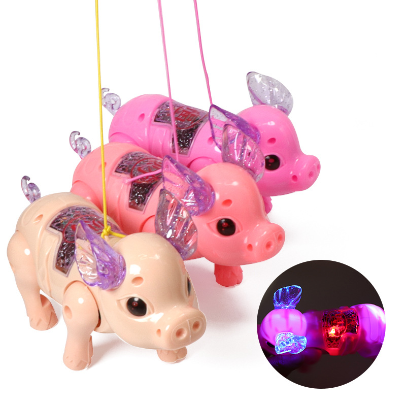 Hot Selling Currently Available Electric Universal Leash Piggy Music Flash CHILDREN'S Electric Toys Temple Fair Stall Hot Selli