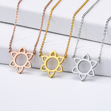 Delicate Sunflower Necklace Plated Leaf Pendant Stainless Steel Gold Chain Women Collar Choker Jewelry Kids Birthday Gift(China)