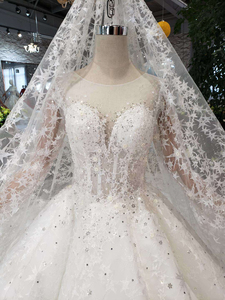 Image 5 - BGW HT565 Ball Gown Like White Wedding Dresses With Wedding Veil Illusion O neck Wedding Gown With Train 2020 New Fashion Design