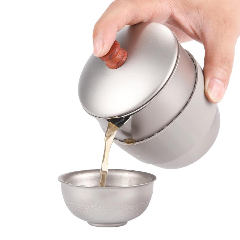 300 ml pure titanium chaleiras de cha pote kung fu conjunto cha chaleira cafe bule conveniente