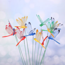 5 pçs novo artesanato criativo quintal gramado ornamento simulação 3d borboleta fina vara artificial libélula com haste decoração de casa
