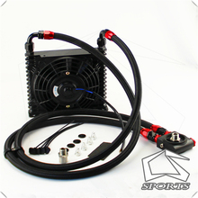 цена на 10AN 32MM 15 Rows Universal Engine Oil Cooler+73 degree Thermostat Sandwich Plate kit +7 Electric Fan Black