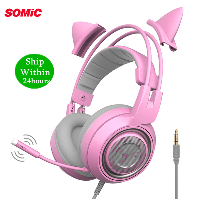 SOMIC G951s PS4 Pink Cat Ear Noise Cancelling Headphones 3.5mm Plug Girl Kids Gaming Headset with Microphone for Phone/Laptop 1