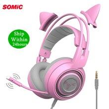 A menina da tomada de 3.5mm caçoa o fone de ouvido do jogo com microfone para o telefone/portátil a orelha rosa do gato de smic g951s ps4 cancelando o ruído