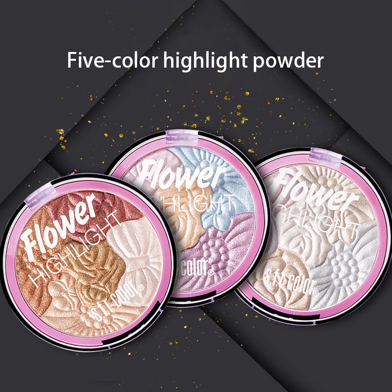 Rainbow Flower Highlighter Palette 3D Illuminator Makeup Highlighter Bronzer Palette For Contouring Highlighters Face Powder