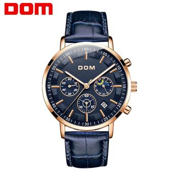 2020 New DOM Luxury Brand Men Chronograph Leather Sports Watches Men Army Military Watch Male Date Quartz Clock Relogio Masculin