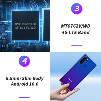 Blackview A80 Plus 6.49'' 4GB+64GB MT6762D Octa Core Android 10.0 Smartphone 13MP Quad Camera 4680mAh 4G NFC Mobile Phone 4