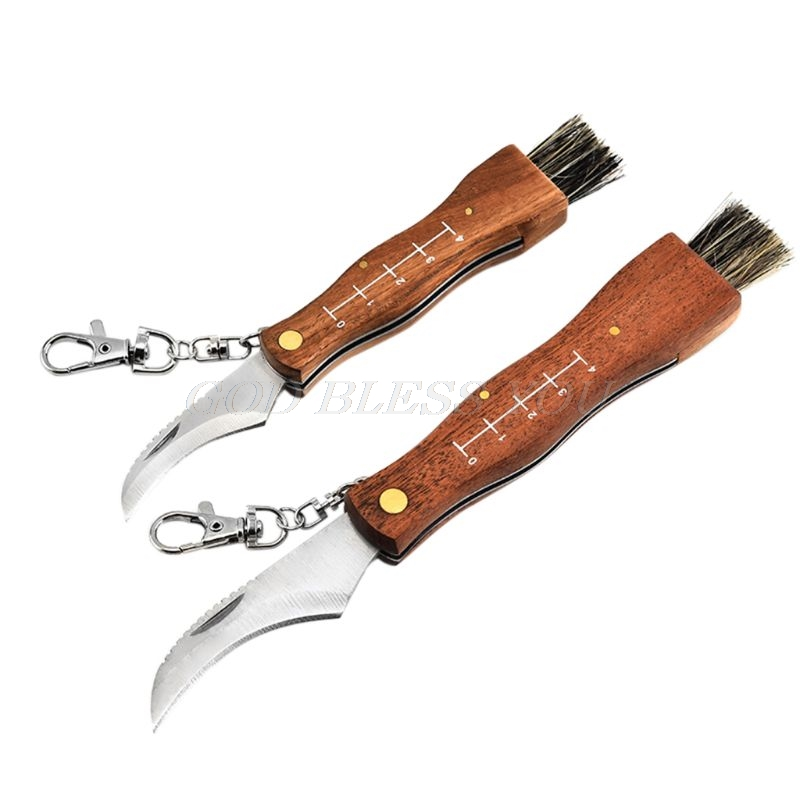 Mini Camping Mushroom Knife Rosewood Handle Outdoor Hunting Survival Multifunction Folding Self-defense Hand Tools
