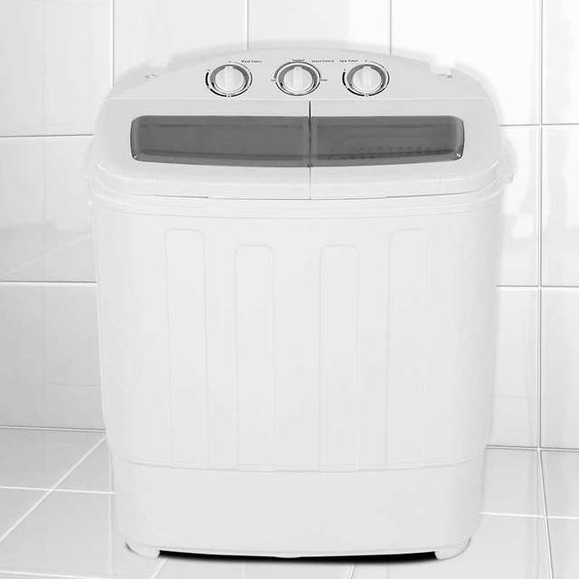 220V 2-in-1 Washing Machine Portable Twin Turbo Personal Rotating  Washer Mini Convenient Washing Machine w/ Spin-Dryer for Home